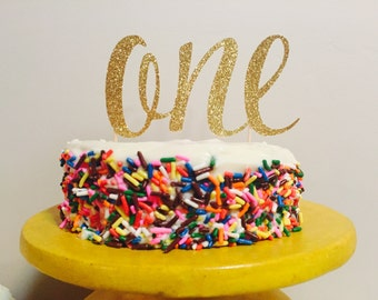 Birthday cake topper, cupcake topper, first birthday, 1st birthday, gold personalized cake topper