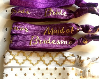 Choose Your Own-Plum & White Bridal/Bridal Party Hair Tie Set-Pick 6 hair ties, Bridal Hair Ties, Bridesmaid Hair Ties, Wedding Hair Ties