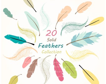 ON SALE Feathers clip art, feather clip art, painted feathers clipart