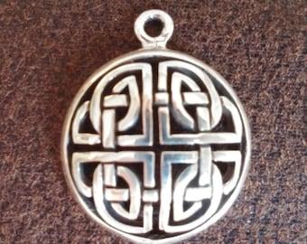 Sterling silver Irish Celtic Knot pendant - charm