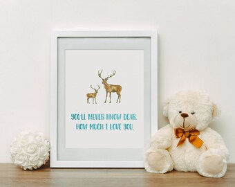 Nursery Print Deer and Baby - Digital Minimalist Print - You Are My Sunshine - Digital Download- Kids Room