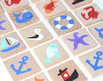 Memory Game- Make a Match Game - Matching Game - Wooden Toy - Wooden Memory Game -Heirloom toy- Nature themed memory game- Ocean themed toys
