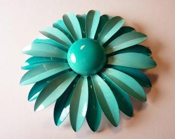 Large Vintage Enamel Flower Floral Brooch Pin Light Blue Turquoise Blue Aqua Blue EUC