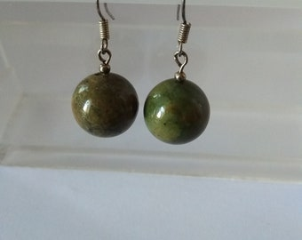 Vintage Earrings Green Brown Fossilized Jasper Round Beads Handmade Silver Plated Leverback