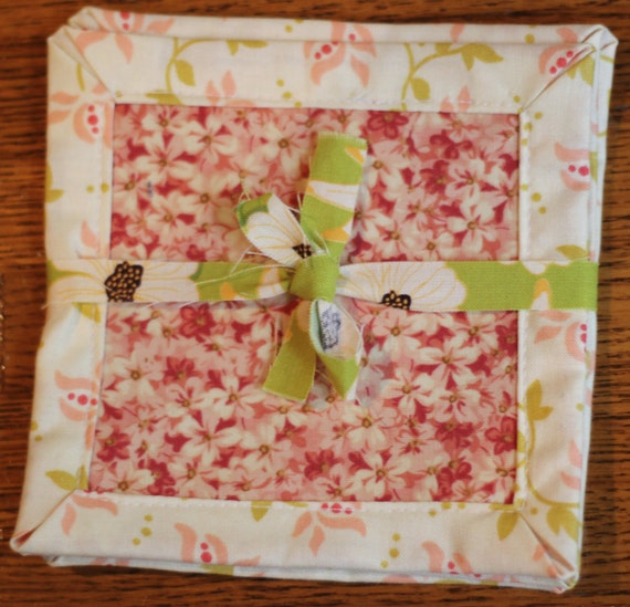 Fabric Coasters Set of 4, Pink/Red floral patterns