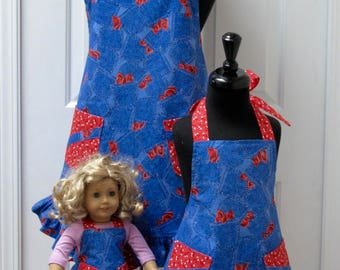 Mommy and Me Aprons - AND Matching Doll Apron Set - Blue Denim with Red and White Dots and Berries   - Reversible