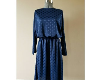 80's Vintage Roaman's navy blue polka dot boatneck dress
