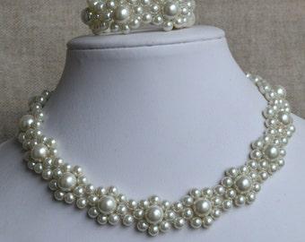 ivory pearl set,pearl necklace pearl bracelet set,wedding pearl set ,flower pearl set,bridesmaids pearl set,glass pearls set,glass pearl set