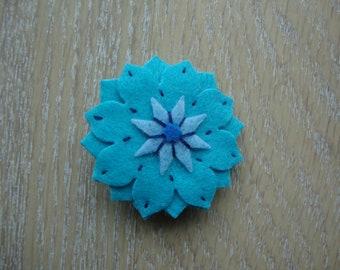 Blue flower Alligator Clip Barrette