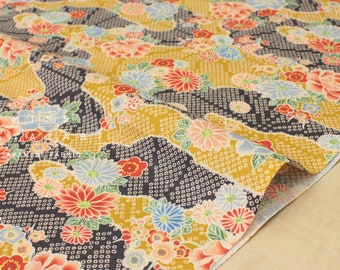 Japanese fabric ume blossom, kiku cotton crepe - mustard - 50cm