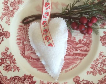Nordic White Christmas Heart ornament sachet stocking stuffer
