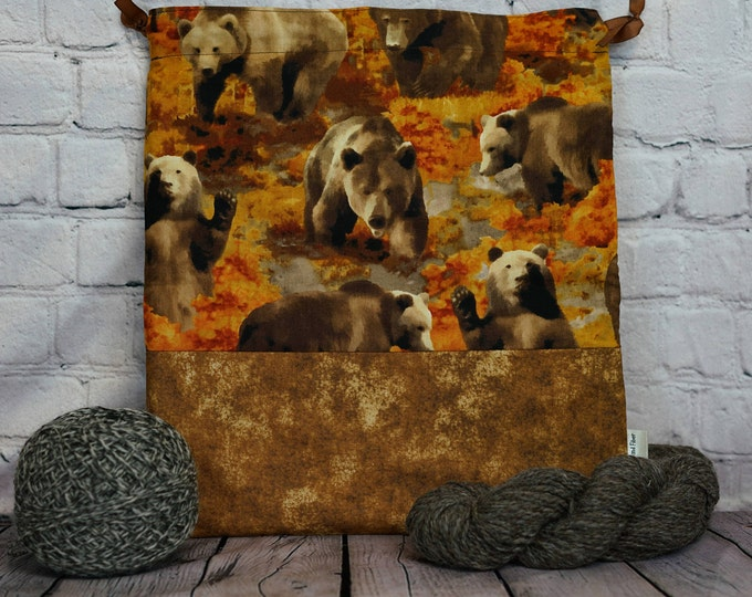 Brown Bears  Knitting Project Bag, Crochet Project Bag, Yarn Bag, Fiber Project Bag, Sock knitting bag, Shawl project bag