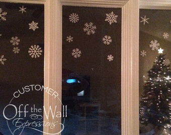 Snowflake decals, large set, window decor, Christmas decals, winter, holiday, frozen decals