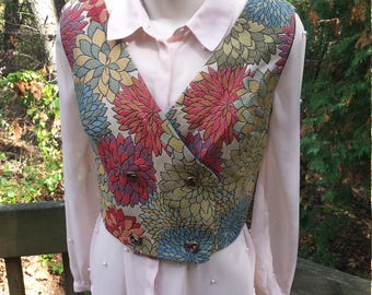 Vest - Double Breasted - Vintage Style - Retro Fashion - Fall Mums - Upcycled Couture - Upcycled Chic