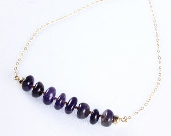 Amethyst Bar Necklace, February Birthstone, Gemstone Necklace, Amethyst Birthstone Jewelry