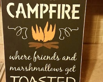 Campfire sign painted sign