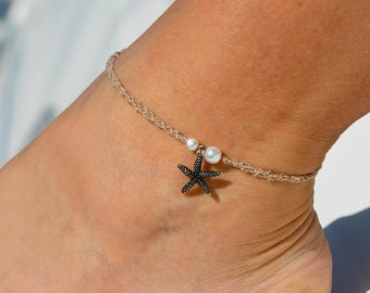 Pearls and Starfish Beige Anklet   Beach Wedding Anklet   Ankle Bracelet   Bridal Anklet   Foot Jewelry   Beach Anklet   Charm Anklet