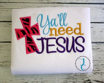 Y'all Need Jesus, Religious Shirts, Jesus Shirts, Church Shirt, Girl Coming Home Outfit, Christian Baby, Baby Shower Gift, Cute Girl Clothes
