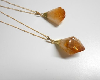 Raw Citrine Necklace, Raw Quartz Necklace, Healing Stone, Crystal Necklace, Bridesmaid Gift, Natural Stone, Raw Crystal, Boho Long Necklace
