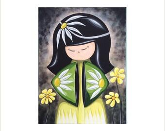 Creative Kokeshi Canvas, Original Oriental Doll Painting, Japanese Kokeshi Doll Art, Kawaii Kokeshi, Japan Doll Canvas Wall Art
