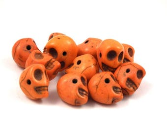 ❤ x 3 stone skull beads orange ❤