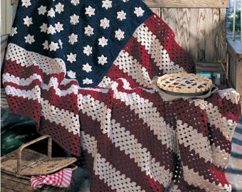American Afghan Crochet Pattern - American Blanket - knitting pattern - vintage Afghan pattern : D072/PDF -Instant download