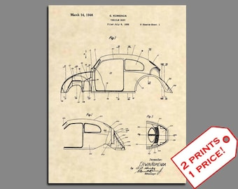 Patent Prints - Volkswagen Beetle Patent Art - Vintage Volkswagen Art Patent Print - VW Wall Art - VW Art Patent Poster - VW Beetle - 52