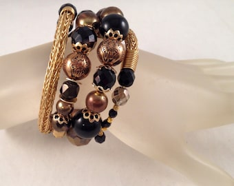Gold Viking Knit Bangle Bracelet with Black, Gold and Bronze Beads,Wrap Bracelet Wraps Around Four Times and Fits All Sizes, One of A Kind