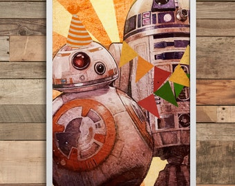 Star Wars BB8 And R2D2 wall art print home decor minimalist Poster birthday gift wedding baner party decoration nursery decal baby girl