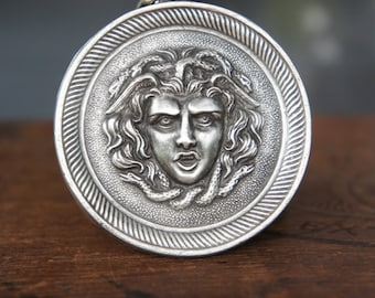 Solid Silver Fierce Medusa Gorgon Medallion Neckalce
