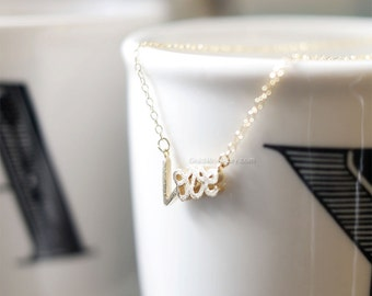 Gold Love Necklace, Love letter Necklace, Writing Love Necklace, Letter Love Necklace, Wedding, Bridesmaid Gift