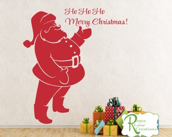 Merry Christmas Sign - Santa Claus Vinyl Wall Decal for Window, Wall, Door - Christmas Decoration-Christmas Wall Decal - Christmas Decor