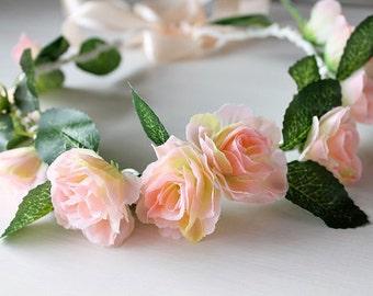 Peach Rose Crown, Boho Halo, Woodland Headband, Peach Hair Crown, Flower Girl Wreath, Boho Rose Crown, Peach Hair Garland, Festival Crown