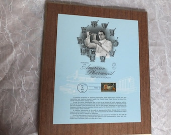 American Pharmacist Commemorative Plaque/First Day Issue 1972 Pharmacy Stamp