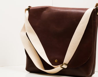 Leather Messenger Bag | Customize your hardware | Stitch Color | Great Anniversary Gift!!