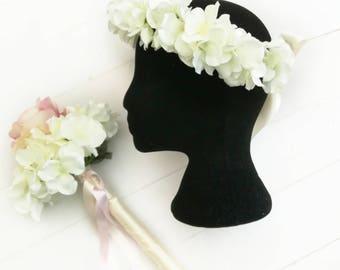 Flower Girl Wand / Basket AND Halo Set. Flower Girl Flowers, Flower Girl Accessories, Flower Wand, Hair Flowers, Fairy Wand