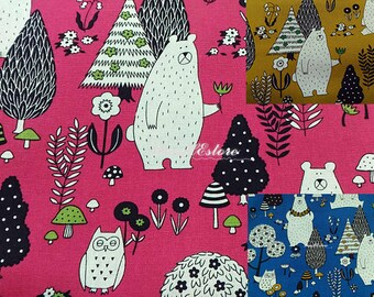 Bear in woods, 1/2 yard, pure cotton fabric
