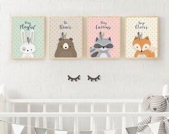 Woodland Nursery, Nursery Art, Neutral nursery, Set of 4, Forest Animal Set, Forest Friends, Forest decor, Bear, Fox Bunny, Raccoon, digital
