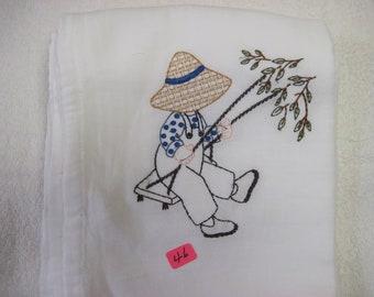 """denim Dan #46 100% cotton flour sack t-towel.  28""""x29"""" whit in color"""