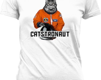 Funny Cat Shirt Catstronaut Space Cat Shirt Kitty Clothing Funny Cat Gifts For Her Kitten Shirt Cat Lover Gift Kitty Shirt Ladies Tee WT-308