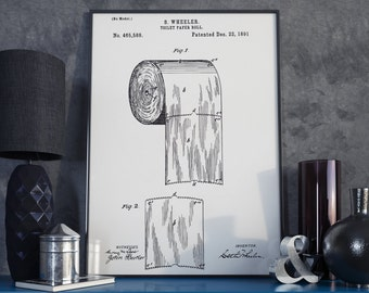 The Original Toilet Paper Roll Patent - 1891 - Patent Print - Vintage Science Art - Toilet Decor, Bathroom Decor, Canvas Art - Includes Docs