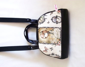 """Handbag """"bowling"""" vintage, faux black leather, retro and Butterfly girls"""