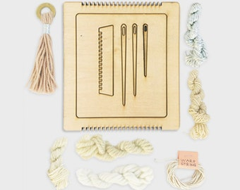 MINI Weaving Loom + Weaving Guide + Assorted Yarns