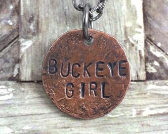 Buckeye Girl Penny Charm Necklaces, Ohio Jewelry, Bouquet Charm,Ohio State Necklace, Buckeye Jewelry, Gift Idea for OSU Student,OSU Jewelry