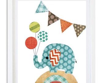Orange blue brown Nursery decor, Elephant nursery art, Nursery prints, kids room wall art, boys room art, orange blue elephant print