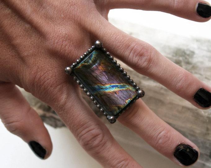 Large Purple Rainbow Labradorite Ring // Labradorite Adjustable Ring