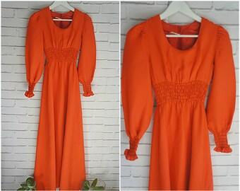 Orange XS size Vintage Maxi Dress - 70s Party Orange Maxi Dress