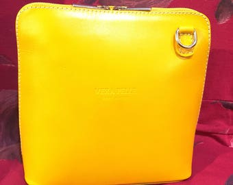 Small Leather Yellow Zip Shoulder Crossbody Handbag Made In Italy