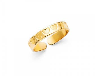 14K Solid Yellow Gold Heart Toe Ring Adjustable - Love Polished Round Band
