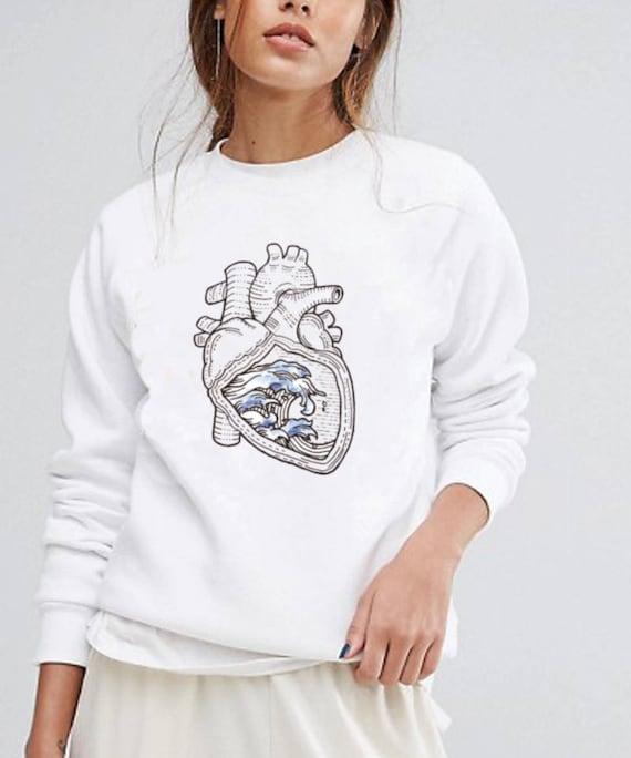 Ocean heart | Unisex Heavy Blend Crewneck Sweatshirt | Graphic Sweatshirt | Pen and Ink art | Tattoo Style| Ocean anatomical heart |ZuskaArt